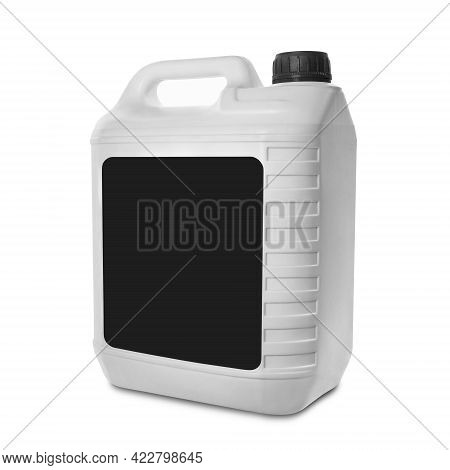 Plastic Canister Isolated On White Background. Blank White Canister With Black Label And Black Cap.