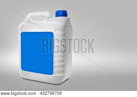 Plastic Canister On A Gray Background With Copy Space. Blank White Canister With Empty Light Blue La