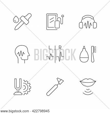 Set Line Icons Of Hearing Aid Isolated On White
