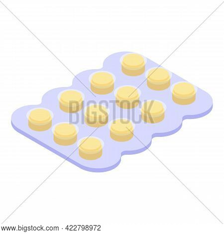 Blister Cough Drops Icon. Isometric Of Blister Cough Drops Vector Icon For Web Design Isolated On Wh
