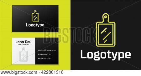 Logotype Line Cutting Board Icon Isolated On Black Background. Chopping Board Symbol. Logo Design Te