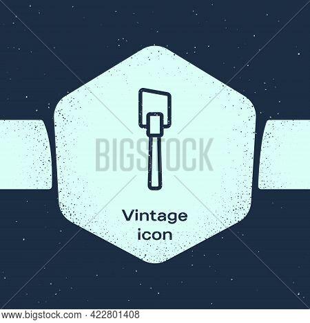 Grunge Line Spatula Icon Isolated On Blue Background. Kitchen Spatula Icon. Bbq Spatula Sign. Barbec