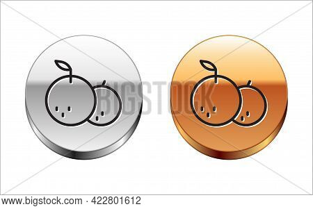 Black Line Tangerine Icon Isolated On White Background. Merry Christmas And Happy New Year. Silver-g