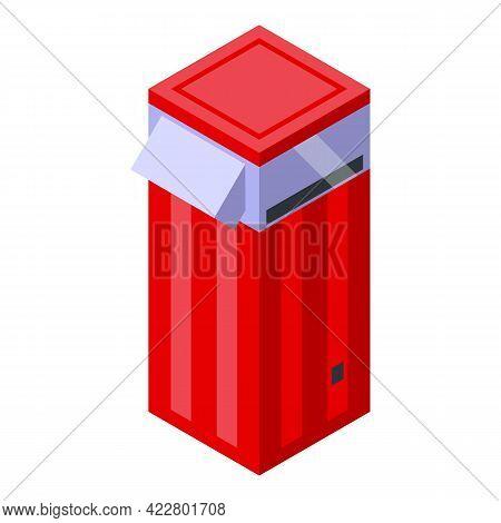 Popcorn Maker Machine Icon. Isometric Of Popcorn Maker Machine Vector Icon For Web Design Isolated O