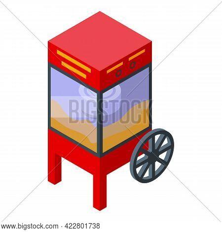 Popcorn Cart Maker Machine Icon. Isometric Of Popcorn Cart Maker Machine Vector Icon For Web Design