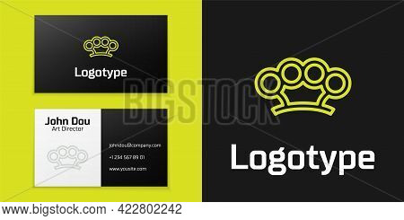 Logotype Line Brass Knuckles Icon Isolated On Black Background. Logo Design Template Element. Vector