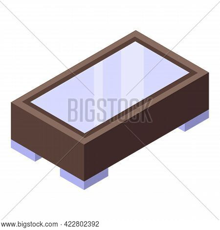 Glass Table Icon. Isometric Of Glass Table Vector Icon For Web Design Isolated On White Background