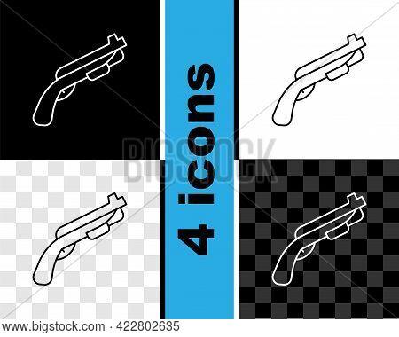 Set Line Police Shotgun Icon Isolated On Black And White, Transparent Background. Hunting Shotgun. V