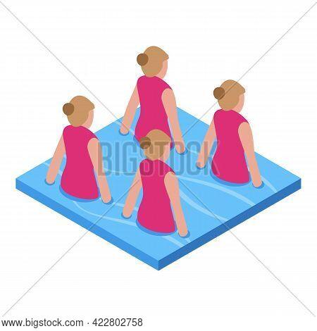 Synchronized Swimming Icon. Isometric Of Synchronized Swimming Vector Icon For Web Design Isolated O