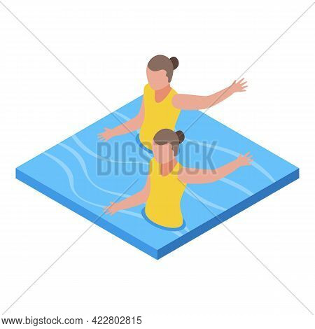 Synchronized Swimming Sport Icon. Isometric Of Synchronized Swimming Sport Vector Icon For Web Desig