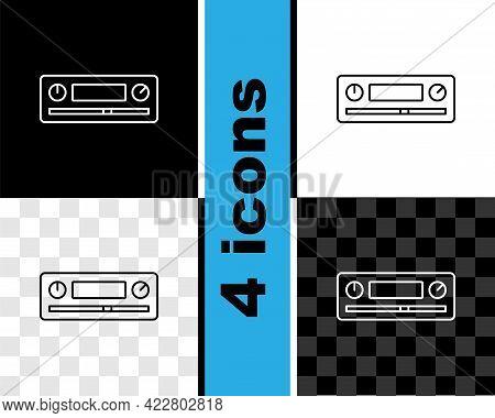 Set Line Car Audio Icon Isolated On Black And White, Transparent Background. Fm Radio Car Audio Icon