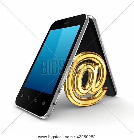 AT symbol icon under mobile phones.