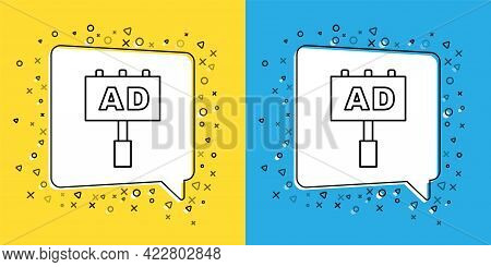 Set Line Advertising Icon Isolated On Yellow And Blue Background. Concept Of Marketing And Promotion