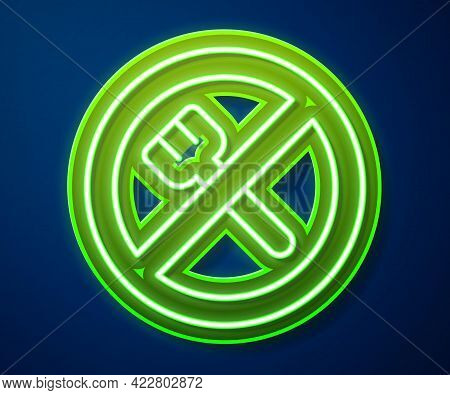 Glowing Neon Line Ramadan Fasting Icon Isolated On Blue Background. Religious Fasting. Vector