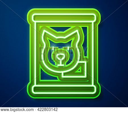 Glowing Neon Line Canned Food Icon Isolated On Blue Background. Food For Animals. Pet Food Can. Dog