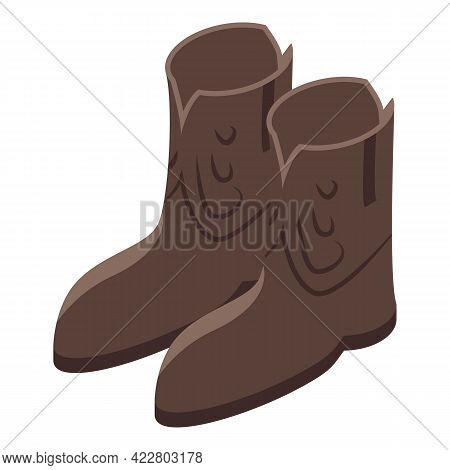Cowboy Shoes Icon. Isometric Of Cowboy Shoes Vector Icon For Web Design Isolated On White Background
