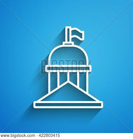 White Line White House Icon Isolated On Blue Background. Washington Dc. Long Shadow. Vector