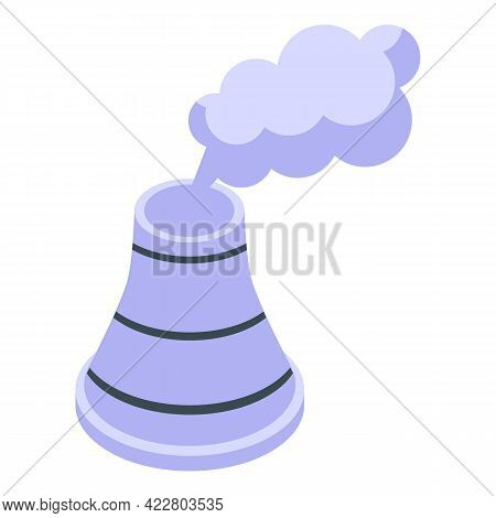 Power Plant Chimney Icon. Isometric Of Power Plant Chimney Vector Icon For Web Design Isolated On Wh