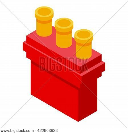 Red Chimney Icon. Isometric Of Red Chimney Vector Icon For Web Design Isolated On White Background