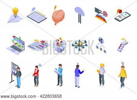 Brainstorming Icons Set. Isometric Set Of Brainstorming Vector Icons For Web Design Isolated On Whit