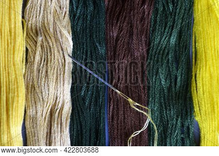Needle With Thread And Set Of Multi-colored Cotton Threads. Top View. Colorful Mouline Threads. Set