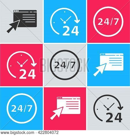 Set Online Shopping On Screen, Clock 24 Hours And Clock 24 Hours Icon. Vector