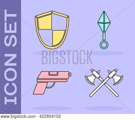 Set Crossed Medieval Axes, Shield, Pistol Or Gun And Japanese Ninja Shuriken Icon. Vector