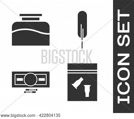 Set Evidence Bag And Bullet, Inkwell, Stacks Paper Money Cash And Feather Pen Icon. Vector