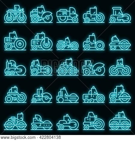 Road Roller Icons Set. Outline Set Of Road Roller Vector Icons Neon Color On Black