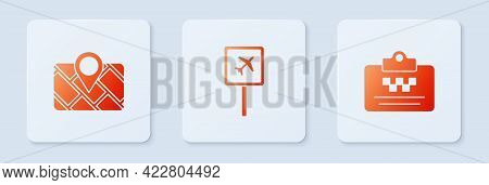 Set Airport, Gps Device With Map And Taxi Driver License. White Square Button. Vector