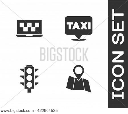 Set Folded Map With Location, Laptop Call Taxi Service, Traffic Light And Location Icon. Vector