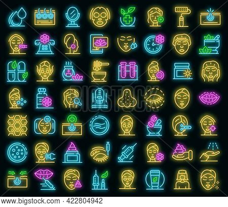 Beautician Icons Set. Outline Set Of Beautician Vector Icons Neon Color On Black
