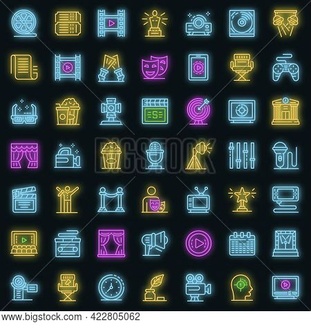 Stage Director Icons Set. Outline Set Of Stage Director Vector Icons Neon Color On Black