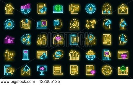 Pr Specialist Icons Set. Outline Set Of Pr Specialist Vector Icons Neon Color On Black