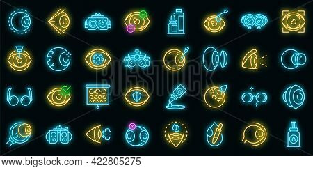 Optician Icons Set. Outline Set Of Optician Vector Icons Neon Color On Black