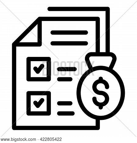 Bank Reserves Papers Icon. Outline Bank Reserves Papers Vector Icon For Web Design Isolated On White