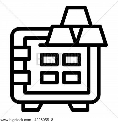 Bank Reserves Safe Icon. Outline Bank Reserves Safe Vector Icon For Web Design Isolated On White Bac