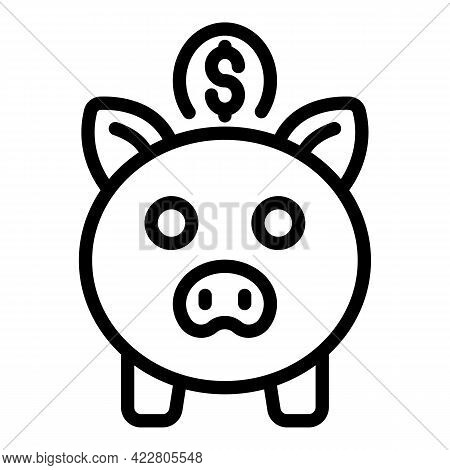 Money Piggy Bank Icon. Outline Money Piggy Bank Vector Icon For Web Design Isolated On White Backgro
