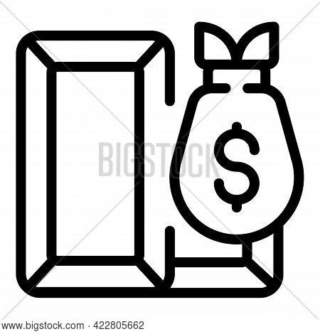 Gold Bank Reserves Bar Icon. Outline Gold Bank Reserves Bar Vector Icon For Web Design Isolated On W
