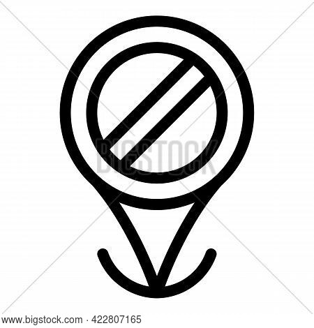 Blacklist Gps Tag Icon. Outline Blacklist Gps Tag Vector Icon For Web Design Isolated On White Backg