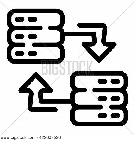 Change Data Server Icon. Outline Change Data Server Vector Icon For Web Design Isolated On White Bac