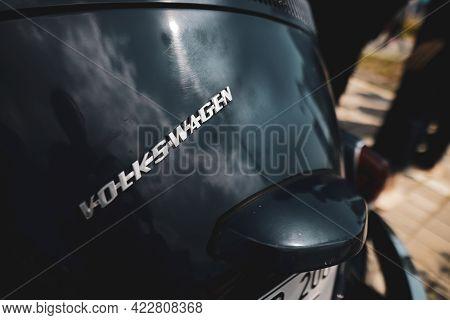 Bucharest, Romania - June 5, 2021: Shallow Depth Of Field (selective Focus) Details Of A Volkswagen