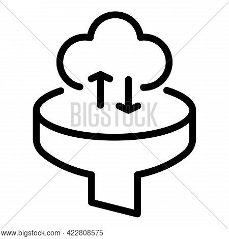 Funnel Data Cloud Icon. Outline Funnel Data Cloud Vector Icon For Web Design Isolated On White Backg