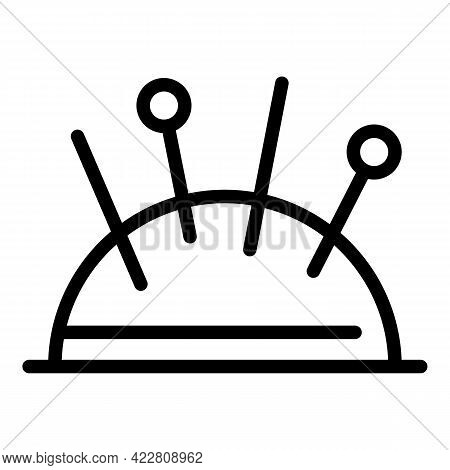 Needle Pillow Icon. Outline Needle Pillow Vector Icon For Web Design Isolated On White Background