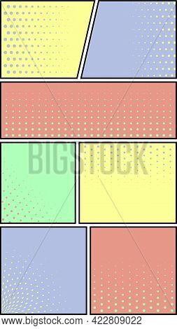 Comics Book Page Template. Comic Panels With Half Tone Dotted Background. Optic Pop Art Style.