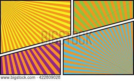 Comic Panels . Comics Book Page Template Size 16:9 . Colorful Backdrops With Radial Rays.