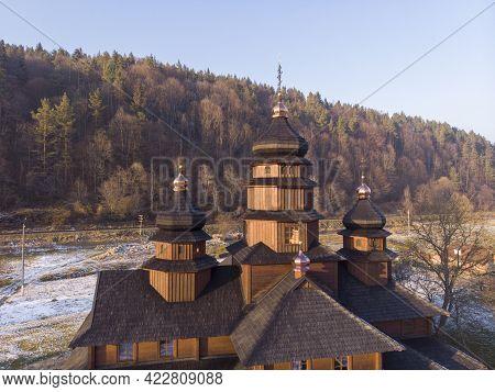 Aerial View To Wooden Church Of Holy Prophet Elijah, Ilinskaya, Yaremche, Carpathians Mountains, Ukr