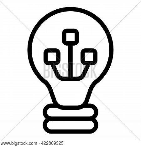 Smart Lightbulb Icon. Outline Smart Lightbulb Vector Icon For Web Design Isolated On White Backgroun