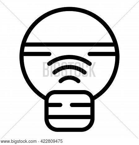Internet Smart Lightbulb Icon. Outline Internet Smart Lightbulb Vector Icon For Web Design Isolated