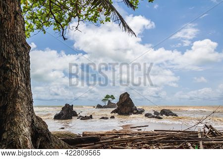 Africa's Beautiful Beach In Axim Ghana With Untouched Nature And A Beautiful Sea That Changes Color.